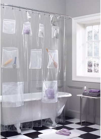Maytex Quick Dry Mesh Shower Curtain with Pockets