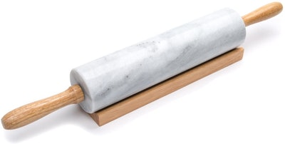 Fox Run Polished Marble Rolling Pin with Wooden Cradle