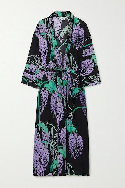 Peignoir floral-print silk crepe de chine midi wrap dress