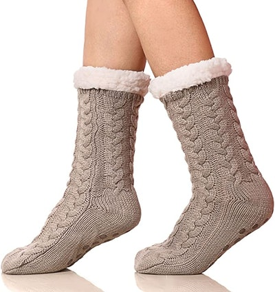 SDBING Fuzzy Fleece-lined Slipper Socks