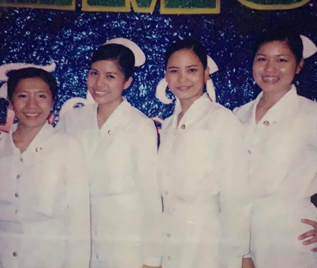 The nursing graduation ceremony at University of the Assumption in San Fernando, Pampanga. Diana is the second from the left.