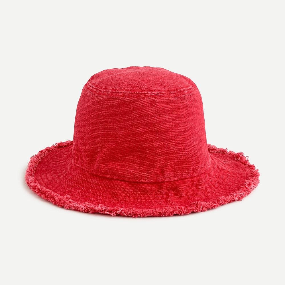 Frayed-Edge Bucket Hat