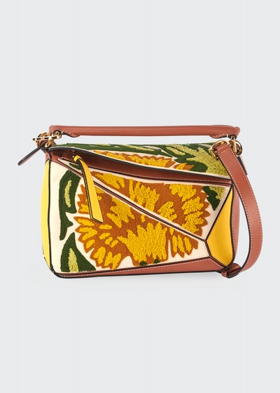 Puzzle Embroidered Floral Leather Satchel Bag