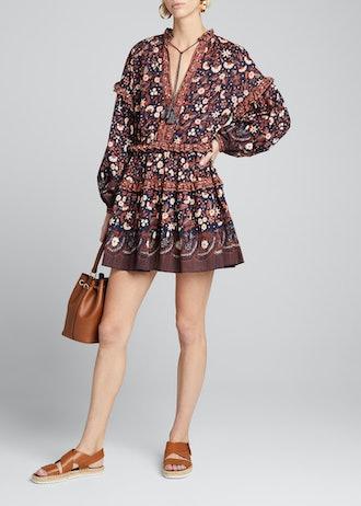Marigold Printed Tie-Front Short Dress
