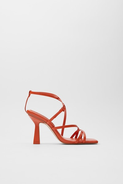 Quilted Insole Strappy Heeled Leather Sandals