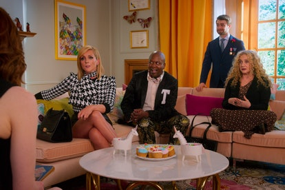 Jane Krakowski, Tituss Burgess, Daniel Radcliffe, & Carol Kane in the 'Unbreakable Kimmy Schmidt' movie, 'Kimmy vs. the Reverend'