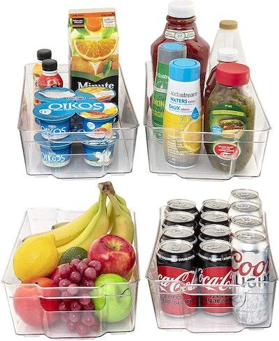 JINAMART Plastic Storage Bins for Pantry (Set of 4)