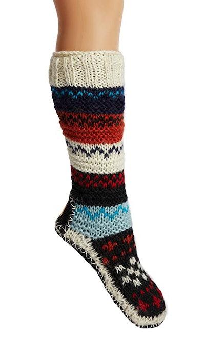Tibetan Socks Fleece-Lined Wool Slipper Socks