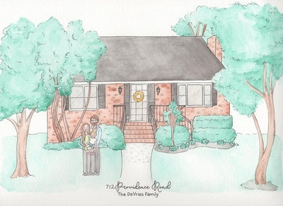 Custom Watercolor Home Portrait WITH FAMILY