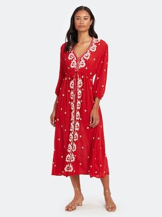 Embroidered V-Neck Maxi Dress