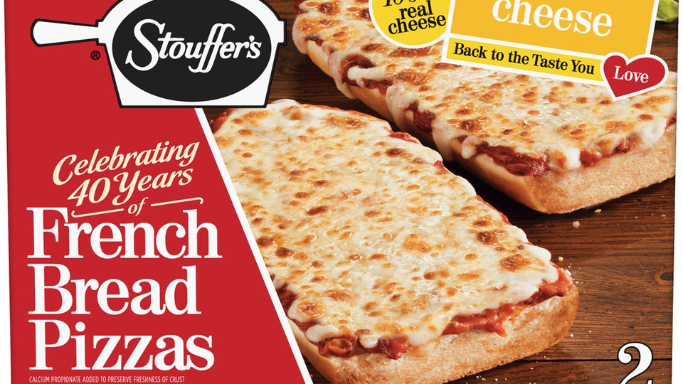 A picture of Stouffer's classic french bread pizza in the iconic red box.