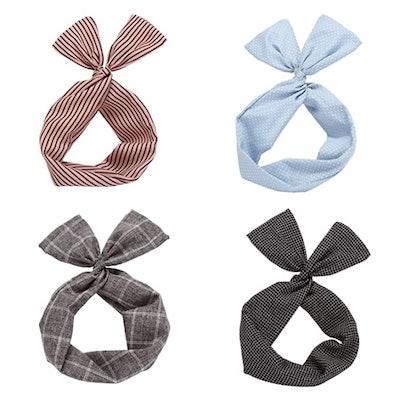 Sea Team Twist Bow Wired Headbands (4 Pieces)