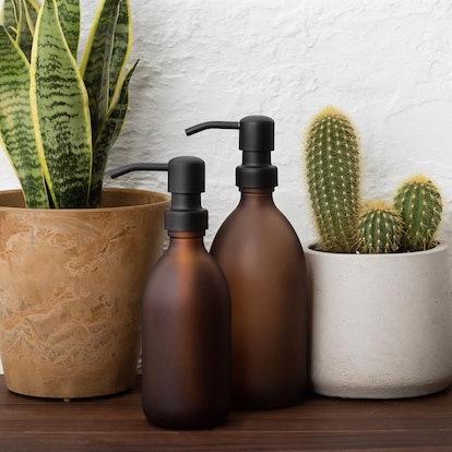 Amber Matte Glass Soap Dispenser Bottle