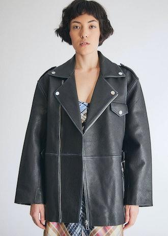 Grain Leather Coat