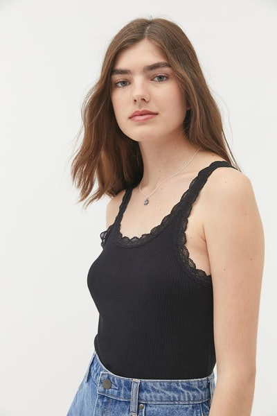 Lace-Trim Ribbed Tank Top