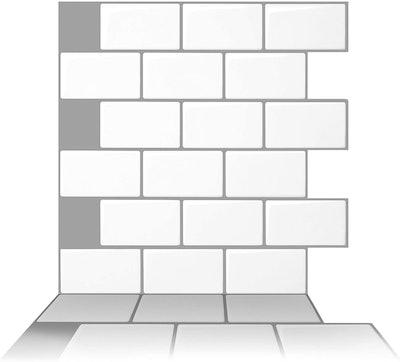 Tic Tac Tiles Peel and Stick Self Adhesive Backsplash (12x12 Inch, 10 Sheets)
