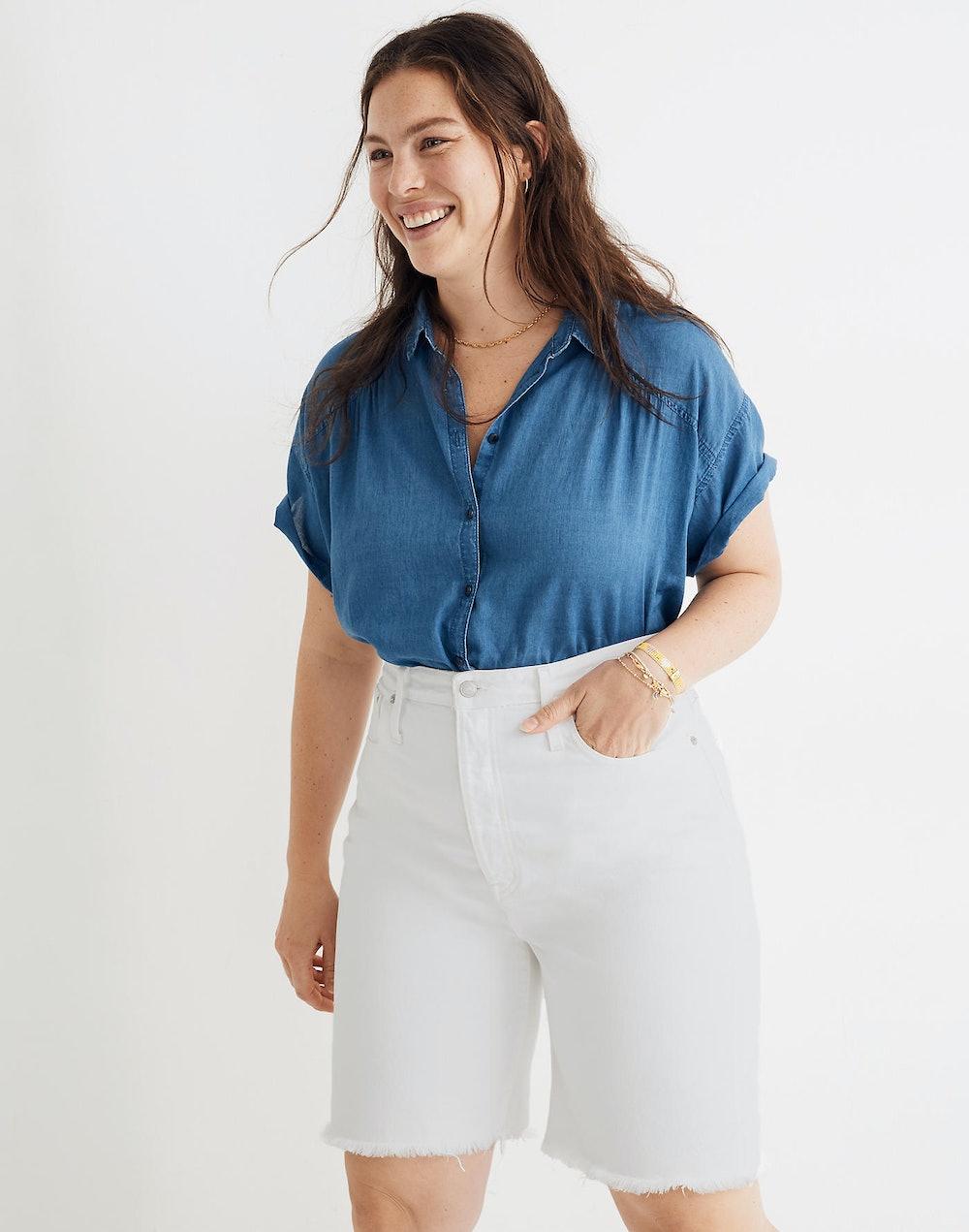 High-Rise Long Denim Shorts in Tile White