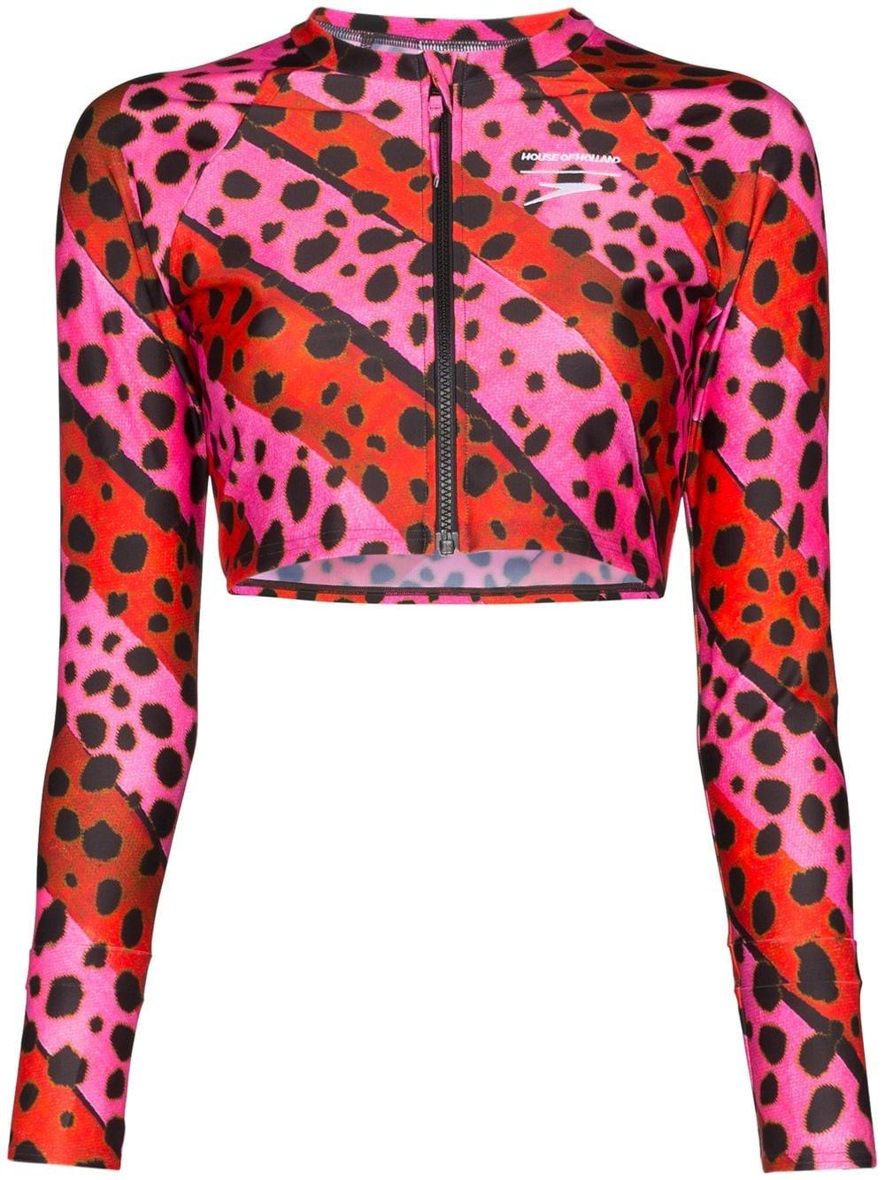 Leopard Print Striped Bikini Top