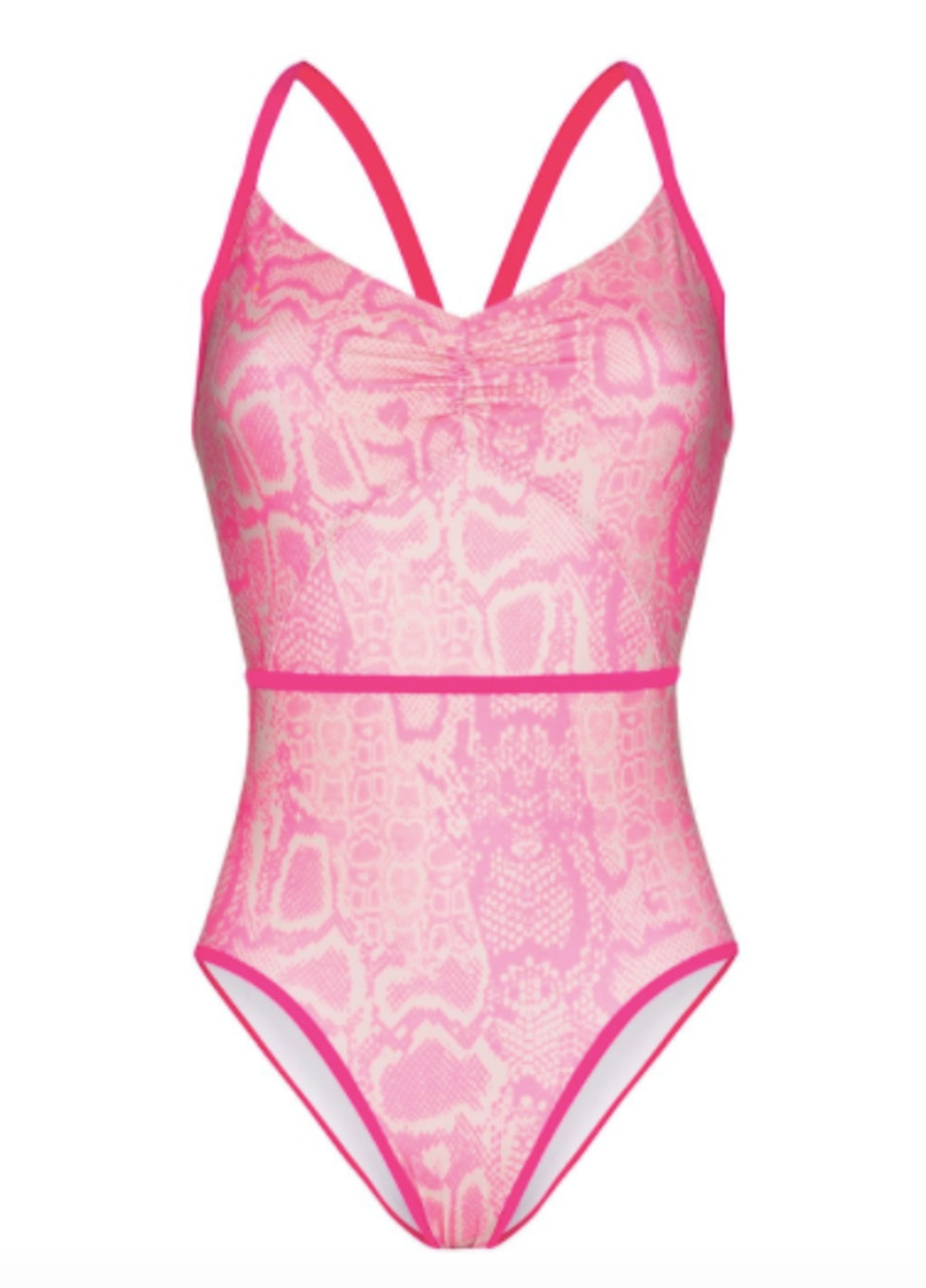 Ruched Snake Print Swimsuit