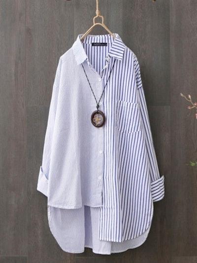 Zanzea Two Tone Striped Asymmetrical Plus Size Shirt
