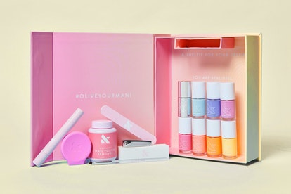 Olive & June Loves Zeba Summer 2020 Collection 's mani kit with shades and tools