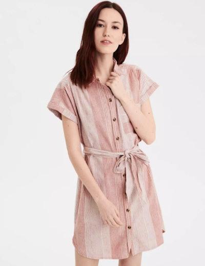 AE Short Sleeve Button Front Shirt Dress