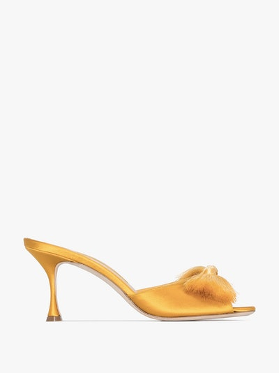 Yellow Railda 70 Tassel Bow Satin Mules