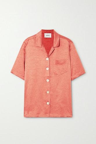 Ella Oversized Washed-Satin Shirt