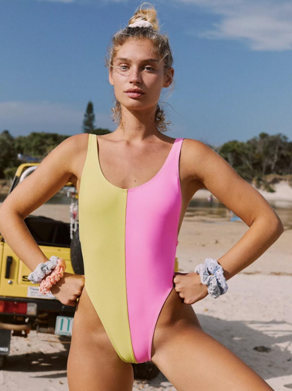 Block High Cut One Piece Swimsuit