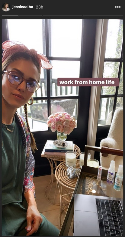 Alba wore a headband with braids and glasses in a recent Instagram story and post.