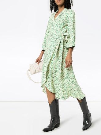 Leaf-Print Crepe Wrap Midi Dress