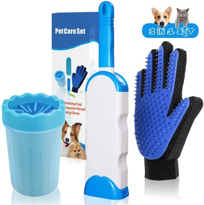 Pet Go Pet Hair Remover, Grooming Glove, And Paw Cleaner Set