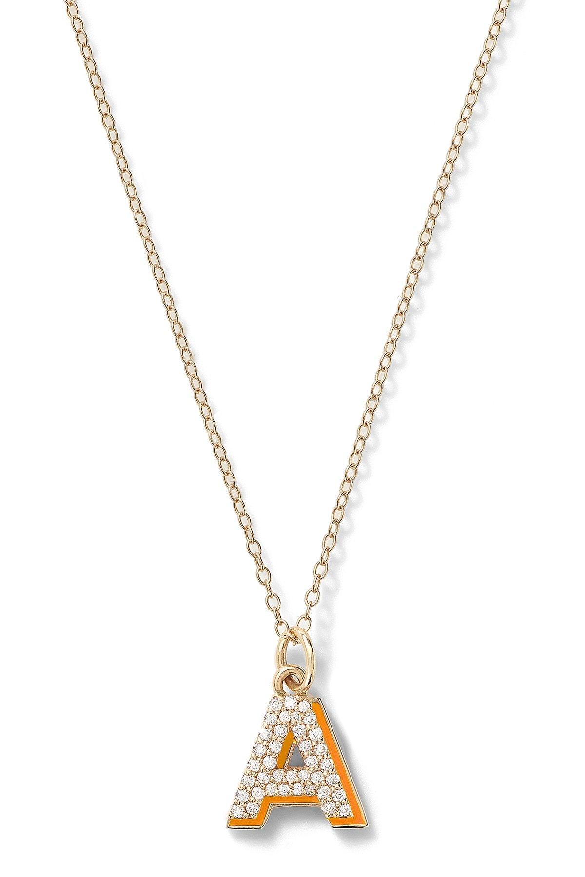 14K Yellow Gold Mini Diamond Letter with Enamel Shadow Necklace