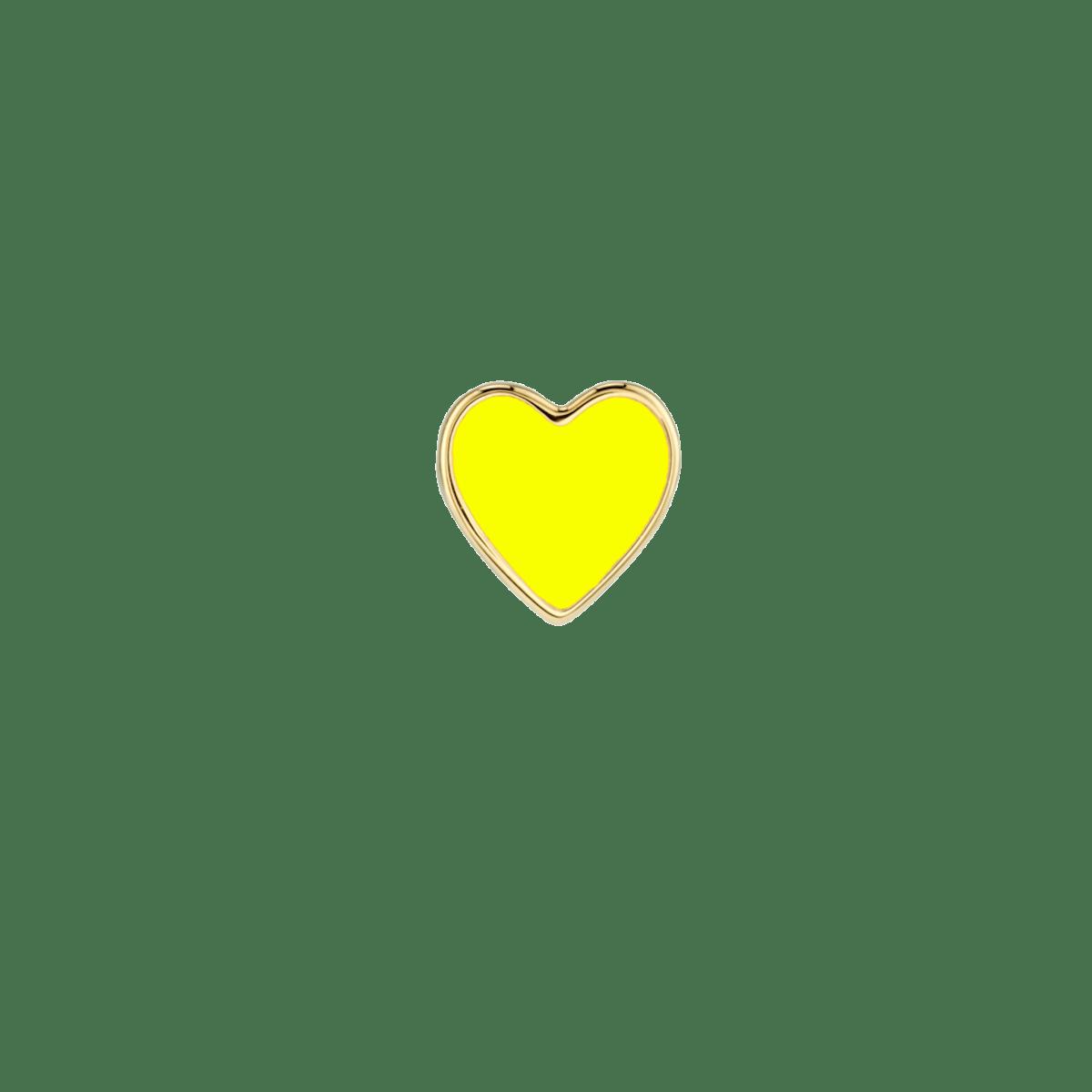 Neon Yellow Enamel Heart Stud