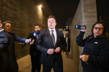 Elon Musk leaving court through the back door through a back door amidst the Unsworth trial.