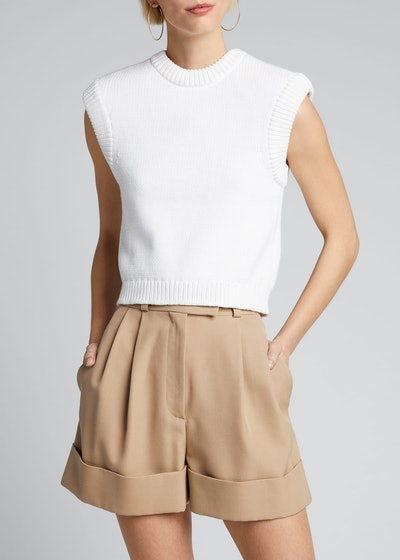 Tube Yarn Cropped Pullover With Detachable Shoulder Pads
