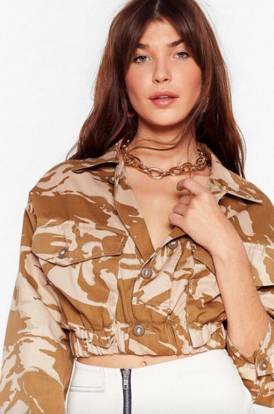 Vintage In Line Cropped Camo Jacket