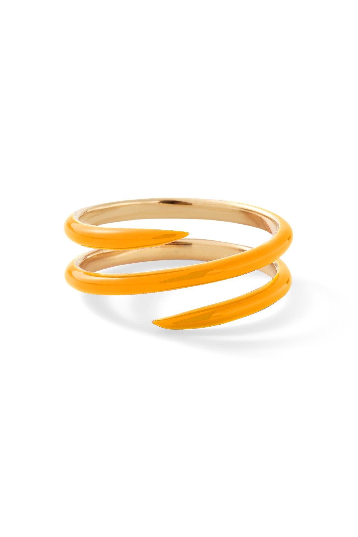 14K Yellow Gold Coil Enamel Band