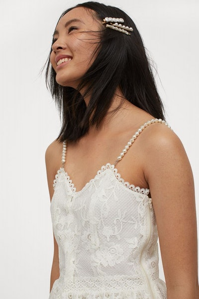 Bead-Strapped Lace Dress