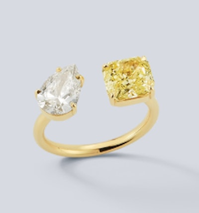 Diamond Pear and Radiant Canary Diamond Open Ring