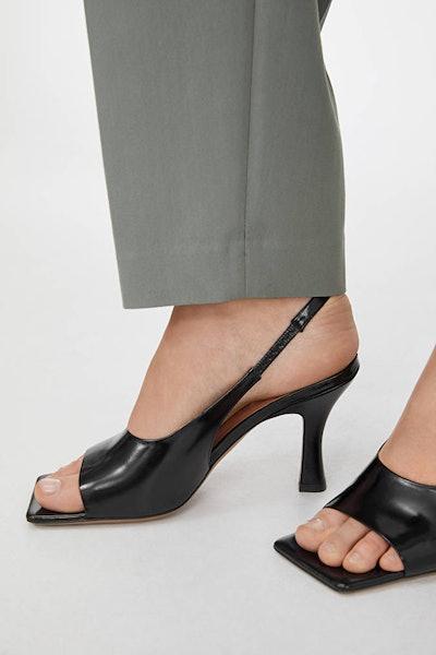 Square-Toe Leather Slingbacks