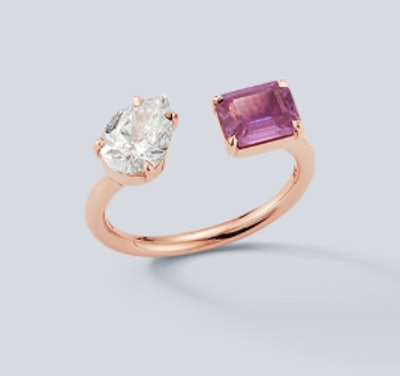 Prive Diamond Pear and Pink Sapphire Open Ring