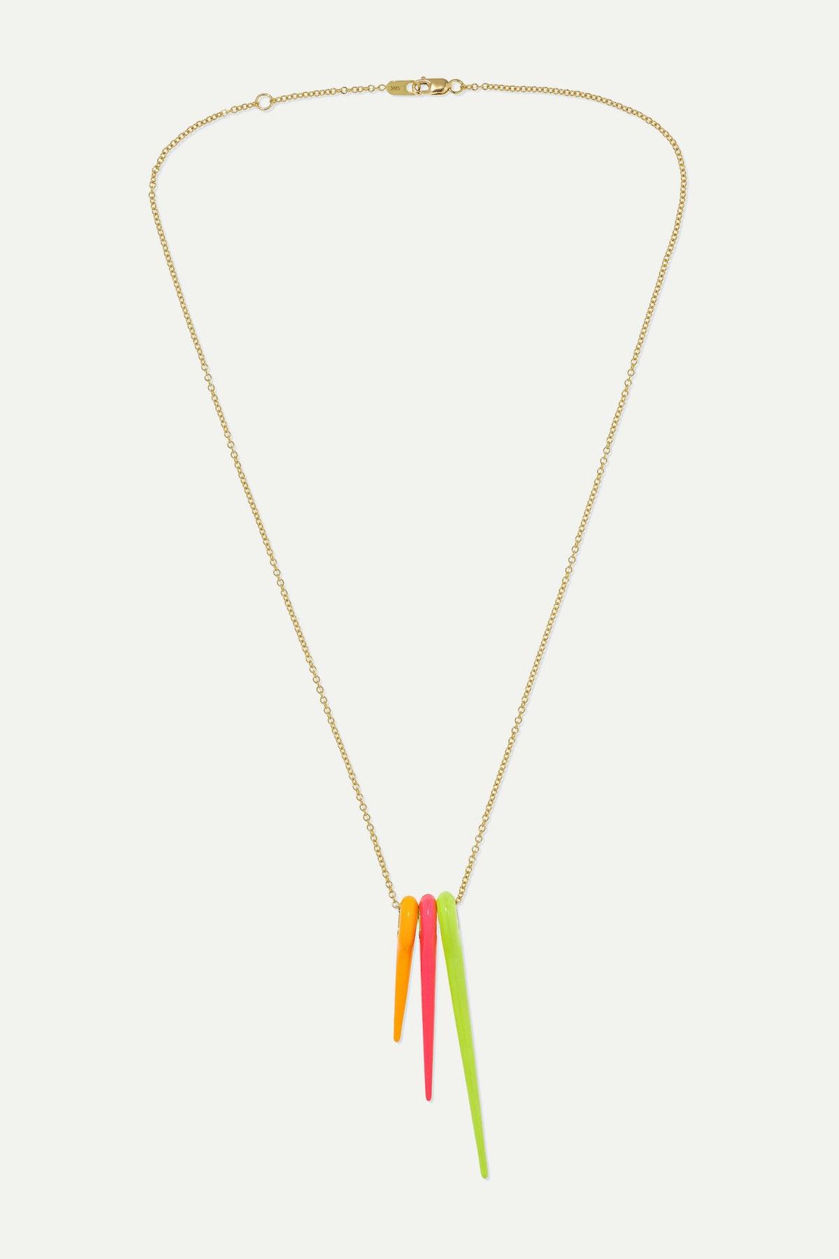 Lola 18-Karat Gold Enamel Necklace
