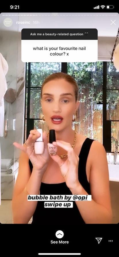 Rosie Huntington-Whiteley's favorite nail polish color is OPI's Bubble Bath