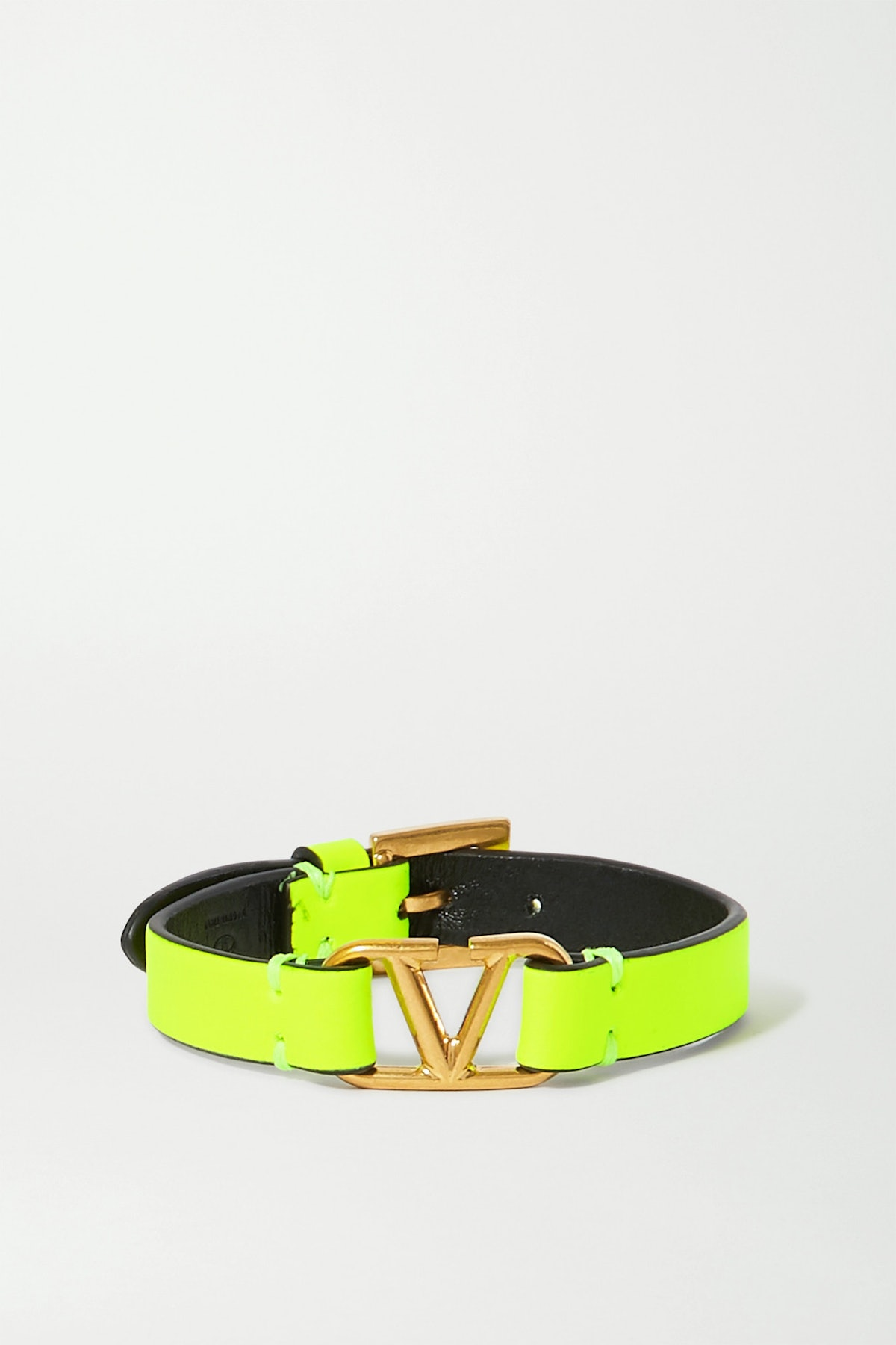Neon Leather and Gold-Tone Bracelet