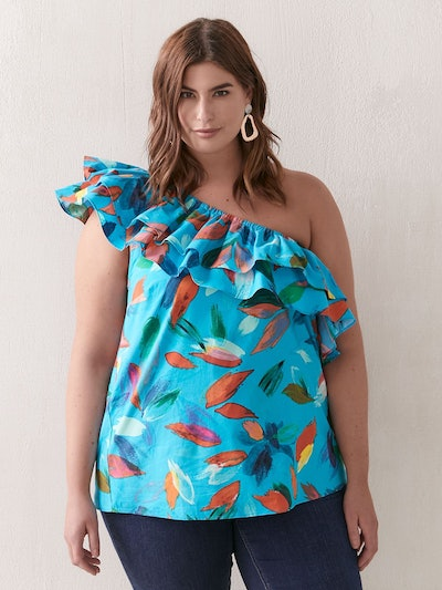 Printed One Shoulder Flounce Blouse