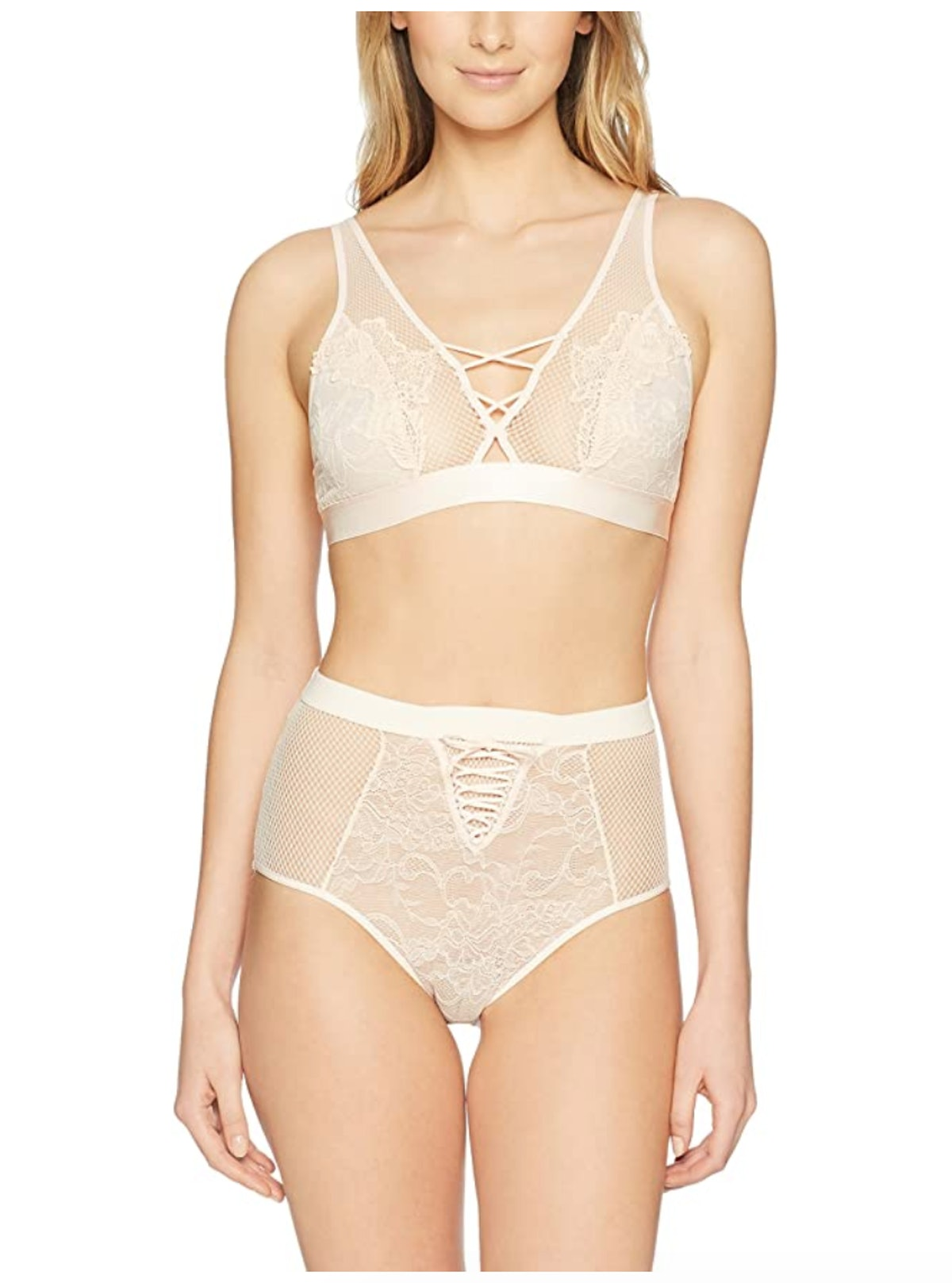 Mae Women's Allover Lace Bralette and High Waisted Panty Set