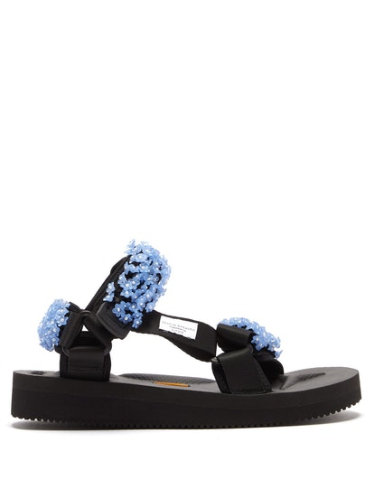 X Suicoke Maria Beaded Velcro-Strap Sandals