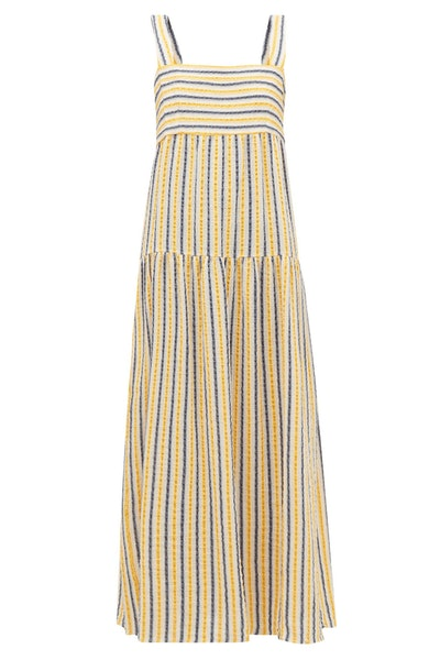 Three Graces London Cosette Striped Cotton-Blend Seersucker Maxi Dress