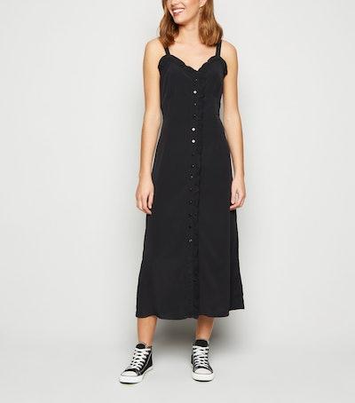 Blue Vanilla Black Ruffle Trim Midi Dress